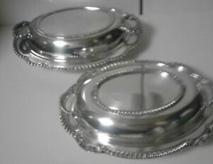 Lot Of 3 Vintage Oval Silver Plated Serving Dishes Side Tray Use Scrap Or Resell