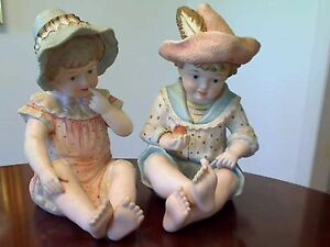 Vintage Large Piano Babies Boy Girl Bisque Porcelain Figurines Numbered 1919