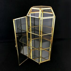 Vtg Brass Glass Tabletop Curio Display Case Tower Mirror Bottom 11 5 H