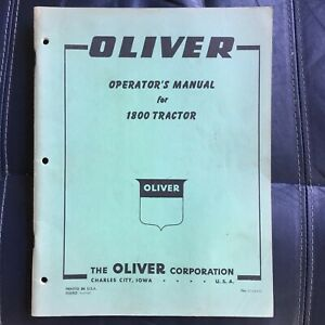Oliver 1800 Farm Tractor Owner s Manual Green Cover clean Manual