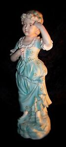 Antique Vtg Victorian German Heubach Style Lady Bisque Figurine Statue Large 12