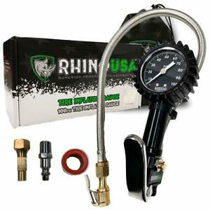 Rhino Usa Tire Inflator With Pressure Gauge 0 100 Psi Ansi B40 1 Accurate L