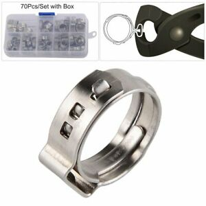 70pcs Grip Clamp Pex Clamp Cinch Rings Crimp Pinch Hose Clamp Fitting Multi Size