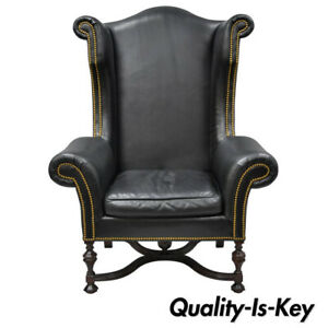 Lee Jofa Oversized Large William And Mary Black Leather Wing Back Library Chair
