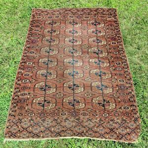 3 3 X 4 11 Turkoman Bokhara Rug Antique Oriental Rug Area Rug Free Shipping