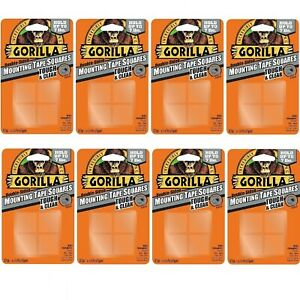 Gorilla 6067201 Mounting Tape Squares Tough Clear 8 Pack 8 Pack