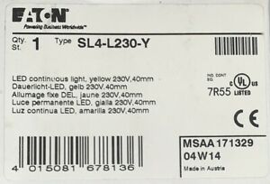 Eaton Cutler Hammer Sl4 L230 Y 230 V Yellow Led Continuous Light 40mm