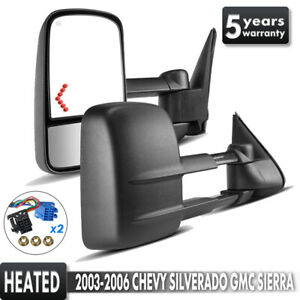 Tow Mirrors Power Heated Arrow Signals Pair Lh rh Fit 2003 2006 Chevy Gmc 1500