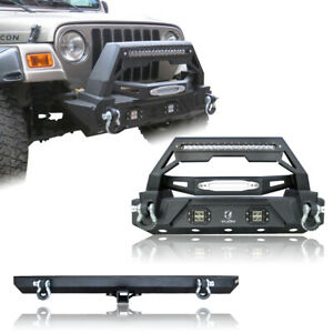 For 87 06 Tj Jeep Wrangler Rock Crawler Front And Rear Bumper With Winch Plate