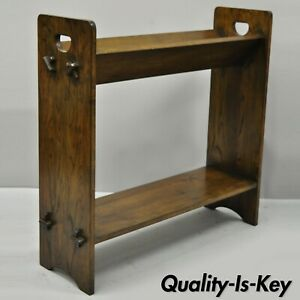 Vintage Arts Crafts Mission Oak Wood Style D Handle Open Bookstand Bookshelf