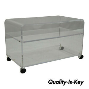 Mid Century Modern Thick Clear Lucite Low Waterfall Rolling Bar Cart Tv Stand