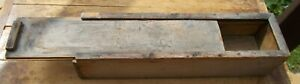 Primitive Farm House Old Wood Cubby Box Slide Lid Pencil Candle Box Old Paint