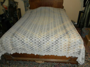 Antique Vintage Embroidered Net Lace Bedspread Coverlet Very Detailed