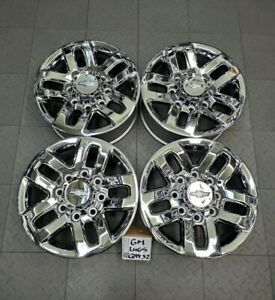 5709 Chevy 2500 3500 18 Factory Alloy Oem Chrome Wheels Set 2015 2017 22910742