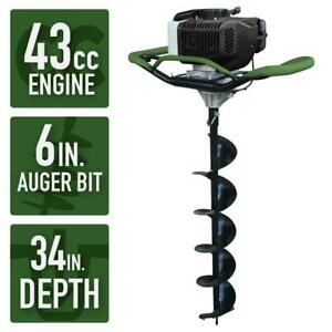 Gas Powered Post Hole Digger Earth Auger 6in Power Engine Bit Fast Heavy Duty