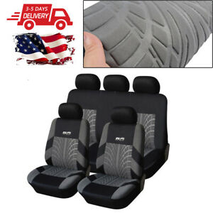 5 seat Car Seat Covers Waterproof Polyester Black gray Front Rear Full Set