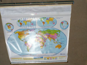 2 Layer Nystrom Pull Down Map Used Nystrom Physical Globe Us World Colorful