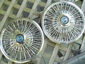 Two Vintage 1965 1966 1967 Ford Mustang Fairlane Spinner Hubcaps Wheel Co
