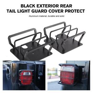 For 87 06 Jeep Wrangler Yj Tj Rear Tail Light Guards Covers Black Steel Metal Us