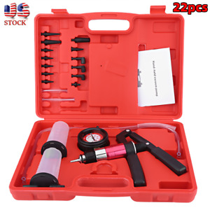 Auto Hand Held Vacuum Pump Brake Bleeder Tester Tool Kit With Adapters For Car