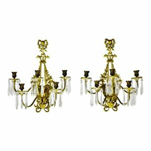 Vtg French Victorian 5 Arm Brass Glass Prism Candelabra Wall Sconces A Pair