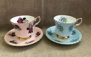 Queen Anne 2 Tea Cups And 2 Saucers Bone China England Vintage Elegant