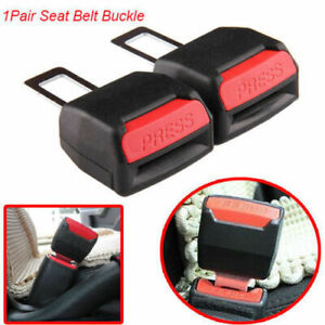 2pc Universal Car Safety Seat Belt Buckle Extension Extender Clip Alarm Stopper