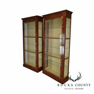 Collector S Edition Red Gold Chinoserie Painted Tall Curio Display Cabinets