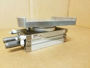 Smc Msqb100r m9pl Rotary Pneumatic Actuator Cylinder W Plate Fittings Used