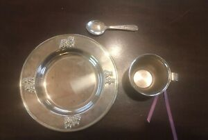 Vintage Baby Silver Plated Cup Plate And Spoon Teddy Bear Embossed