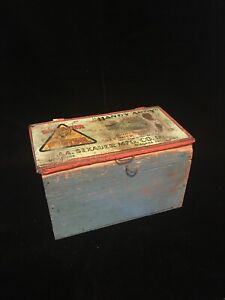 Antique Wood Tool Box Old Blue Paint W Old Handy Andy Sexuer System Ad