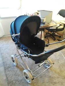 Vintage Stroller Carriage Navy Blue Baby Pram Seat Reverses Front Back Facing
