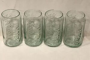 Coca-Cola Can Shaped Green 12oz Glasses Cups Tumblers New Coke Embossed 4pk