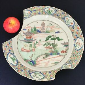 A Large 38cm Chinese Kangxi Period 1662 1722 Famille Verte Landscape Charger