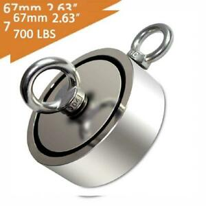 Eviswiy Fishing Magnets Double Sided With Two Eye Dia 67mm 700lbs Silver