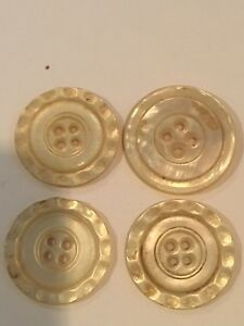 Antique Victorian Carved Mother Of Pearl Buttons