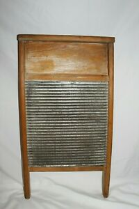 Vintage Antique Very Nice Lady Hibbard Silver Washboard Laundry Room Scrub Board