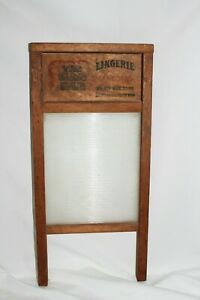 Vintage Antique Nice National Glass King Lingerie Washboard Laundry Scrub Board