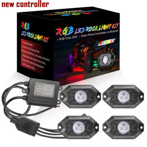 Rgb Led Rock Lights Lamp Off Road Wireless Bluetooth Music Chasing Cree 4 Pods