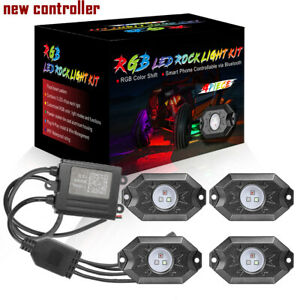 4 Pods Rgb Cree Led Rock Lights Lamp Off Road Music Wireless Bluetooth Control