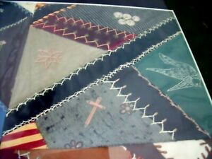 Antique Frame 1800 S Embroidered Crazy Quilt Panel Sampler Flowers Horse Cross