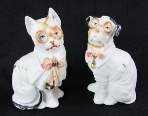 Vintage Painted Bisque Germany Cat Dog Wearing Eyeglasses Figurine Pair