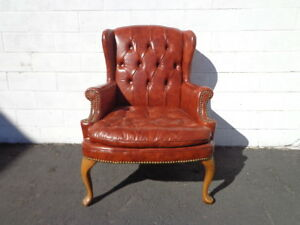 Wingback Chair Tufted Leatherette Armchair Chesterfield Rustic Lounge Seating