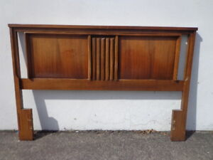 Vintage Headboard Queen Full Panel Mid Century Modern Asian Inspired Frame Wood