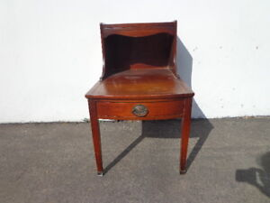 Antique Table Mahogany Leather Top Side Accent End Nightstand Duncan Phyfe