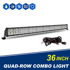 36 Inch Led Light Bar 4368w Cree Spot Flood Offroad Driving Ute Vs 32 Quad Rows
