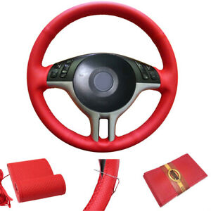 Auto Car Steering Wheel Cover Red Leather W Needle Thread 38cm 15 Universal