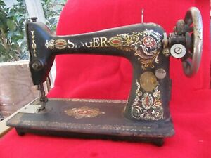 Antique Early 1900s Singer Treadle Sewing Machine Head Red Eye Gold Lettering