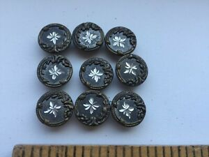 Antique Victorian Picture Buttons With Engraved Star