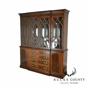 Ethan Allen Georgian Style Flame Mahogany Banded Breakfront China Cabinet